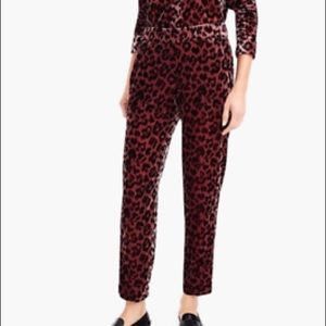 New J.Crew Rose Leopard Velvet Pants